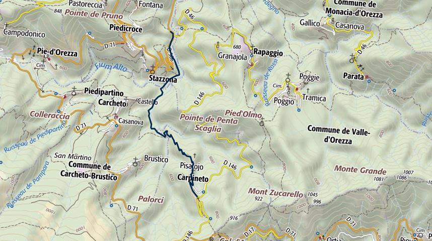 Carte Corse Orezza.Des Eaux Minerales D Orezza A Carpineto Corse Randos Com